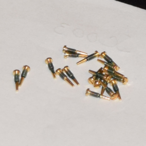 GOLD SELF ALIGNING HINGE SCREW for Eyeglasses : 2.0mm X 1.4mm X 6.5mm 100pcs : Optical Products Online