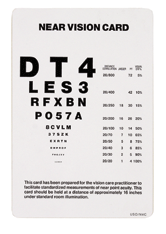 NEAR VISION TEST CARD : Optical Products Online